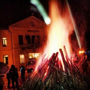 il falò della festa di Sant'Antonio il 17 gennaio
