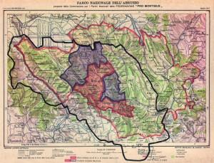 proposta della Pro Montibus nel 1917. L'area protetta immaginata è più ampia di com'è il Parco oggi